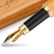Fountain Pen - Calligraphy Fountain Pen Set Fountain Pen Fine Nib Bamboo Pen Natural Wooden Coasters Engraving Present