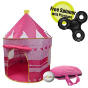 Children Play Tent Girls Pink Castle for Indoor/Outdoor Use, Foldable with Carry Case By Creatov with FREE FIDGET SPINNER