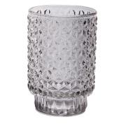 Candleholder Metallic Diamond Embossed Glass Silver 13cm x 8.5cm