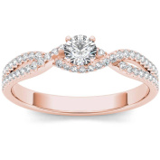 Imperial 3/8 Carat T.W. Diamond Bypass Criss-Cross Shank Classic 10kt Rose Gold Engagement Ring