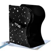 DZW Desktop Shelf Book holder book block foldable steel plate telescopic stand three-column large creative shelf , black - star.Simple