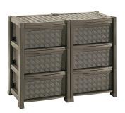 Tontarelli Ariane Double Dresser With 6 Drawers, Wenge, 78 x 49.5 x 63.5 cm