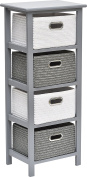Storage unit with 4 baskets with metal handles- Colour WHITE and GREY