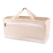 Ava & Kings Nappy Bag Insert Organiser and Nappy Tote Handbag Base Shaper - 10 Pockets, 2 Baby Bottle Holder Straps - Solid Beige