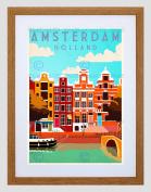 TRAVEL AMSTERDAM HOLLAND NETHERLANDS CANAL BRIDGE BOAT HOUSE ART PRINT B12X7906