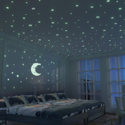 Glow in the Dark Stars 300 pcs & FluorescentLarge Moon (24cm) - Kid Bedroom Wall Sticker - DIY Room Decoration for Boy Girl - Baby House Indoor Wall Art - Toddler Toy Decor Idea