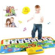 Piano Mat, Fat.chot Multi-function Musical Carpet Baby Toddler Crawling Educational Music Piano Keyboard Blanket Touch Play Safety Animals Learn Singing Funny Toy for 3 year old Kids