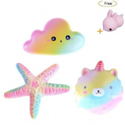 CosCosX 3 PCS Jumbo Squishy Toy, Kawaii Rainbow Star + Rainbow Bear + Rianbow Cloud, Decompression Squeeze Toys for Collection Gift, Decorative Props Large or Stress Relief, Home Decoration