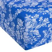 Eiffel Textile Printed Mattress Cover for Bed of 90, algodón-poliéster, Blue, 30 x 15 x 3 cm