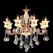 DELLT- European-style living room chandeliers, zinc alloy candles crystal chandeliers, luxury atmosphere jade villa chandeliers, restaurant bedroom lights