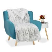 Relaxdays Faux Fur Blanket Throw, XXL Bedspread, Fluffy Blankie, WxD app. 220 x 240 cm, White-Grey
