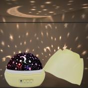 Henweit Starry Night Light Rotating Star Moon Sky Projector Children Nursery Baby Room Lighting Lamp Gift Decoration With USB