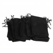 Bodhi2000 25pcs Black Velvet Drawstring Jewellery Bags Wedding Favour Gift Bags Pouches 7cm x 9cm