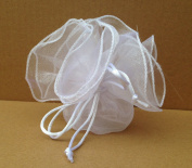 10 PCS ORGANZA BAG FOR HOLDING CONFETTI, PARTY FAVOURS WITH GUY LINES White