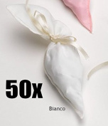 50 PCS Cone Cinder cone satin sugared almonds bags WHITE tape excluded