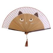 ULOOIE Cute Elegant Womens Black Cat Print Folding Bamboo Hand Fan Present