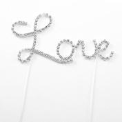 KOTiger Letter Love Cake Topper W/rhinestone for Wedding, Engagement, Birthday, Party Aniversary Decoration