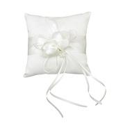 iShine Faux Pearls Decor with Ribbons Bud Wedding Pocket Ring Pillow Cushion Bearer 15cm x 15cm