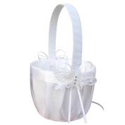 Romantic Wedding Flower Girl Basket, Satin Bowknot Flower Basket, Rhinestone Lace Flower Wedding Basket, Marriage Props Wedding Party Decoration Supplies - White,13x22cm