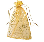 100 Gold Organza Wedding Favour Bags Jewellery Pouches 9cm x 12cm. without free gifts