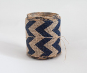 Hessian Ribbon Roll with Navy Chevron Design Print Hessian Sashes Table Runner