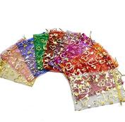 100x Da.Wa Organza Gift Bags Multi Coloured Wedding Favour Bags Jewellery Pouches