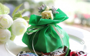 Qearly Elegant Style Drawstring Party Favour Bags Candy Bags Drawstring Pouch-Green