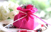 Qearly Elegant Style Drawstring Party Favour Bags Candy Bags Drawstring Pouch-Rose Red