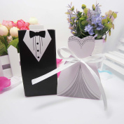 100pcs Black and White Suit European Bride and Groom Gress Wedding Candy Box with Ribbon