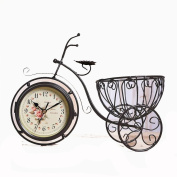 Retro Creative Home Metal Crafts Living Room Double Side Mute Clock Decoration Decoration Bicycle Model