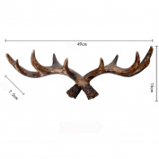 Retro antlers decorated wall hanging clothes hooks creative entrance door decoration , brown
