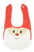 Super Cute Festive Baby Girls Boys Feeding Christmas Bib Red Santa Face