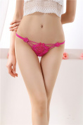XW-atxsLadies underwear embroidery lace thong hair t pants waist transparent ,Large size rose red