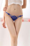 XW-atxsLadies underwear embroidery lace thong hair t pants waist transparent ,Large dark blue