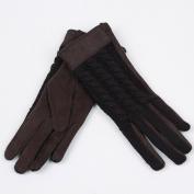 WINTER European-style Women Winter Knitted Fleece Lining Gloves Suede Palm Warm Gloves