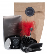 Luxury BDSM kit Nervenkitzel, bondageset including feather tickler, silk eye mask/scarf, pinwheel