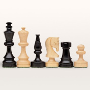 Russian Chessmen, Weighted and Handpolished Black Stained Wood with 8.9cm King