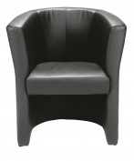 Office Hippo Tub Reception Armchair - Black Faux Leather