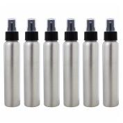 6PCS 120ml Aluminium Spray Bottle, WCIC Refillable Travel Bullet-style Fine Mist Atomizer Bottles for Essential Oil Make-up Toner