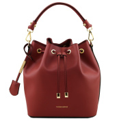 Tuscany Leather Vittoria Ruga leather secchiello bag Red Leather handbags