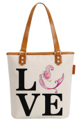 So'each Women's Love Mermaid Letters Canvas Tote Pearly Top Handle Shoulder Bag