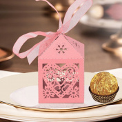 50pcs wedding hollow candy box High quality chocolate candy box Laser Cut hollow candy box love heart candy box with free organza ribbon for wedding party birthday baptism decoration