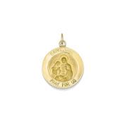 14K Yellow Gold St. Anne Medal Charm Pendant - 23mm