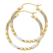 14K Solid Yellow Gold 2.0mm Curled Hoop Earrings