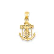 14K Yellow Gold Mariner Anchor Cross Charm Pendant - 26mm