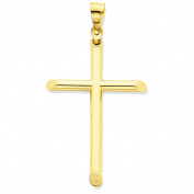 14K Yellow Gold Latin Cross Charm Pendant - 45mm
