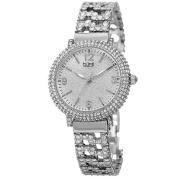 Burgi BUR140SS Quartz Crystal Bezel Bracelet Silvertone Womens Watch