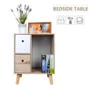 TOP-MAX Bedside Cabinet Contemporary Style White Drawer OAK Side Table Nightstand 4 Pine Legs Chest Storage for Bedroom Living Room Hallway
