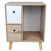 TOP-MAX OAK Bedside Table Modern Style Nightstand Bedroom Chest Storage Cupboard with 2 Drawers and 4 Pine Legs