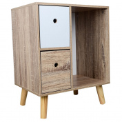 TOP-MAX Bedside Table Cabinet 2 White Natural Drawers Wooden Night Stand Gadget Organisation Cupboard Bedroom Chest Storage with 4 Pine Legs
